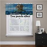 Adorise ventana cenefa dibujos animados, cortina de bolsillo para casa de pescadores de fantasía, paneles para bloquear el calor y el frío, 54 x 18 pulgadas