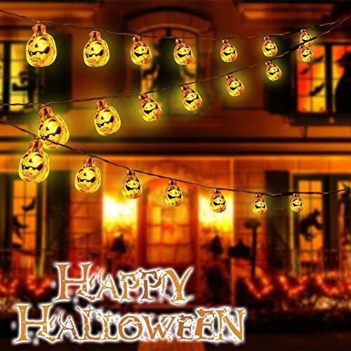 SIEBIRD Halloween Decor Pumpkin String Lights, Solar String Lights Outdoor, 20ft 30 LED Halloween Decorations Lights for Patio, Garden, Gate, Yard, Parties (IP65 Waterproof, 8 Light Modes Warm White)