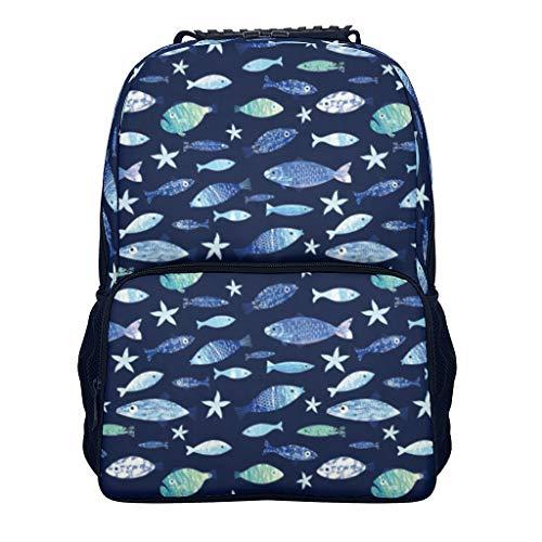 shaoziyun Mode Reise Rucksack-Damen Ocean Fishes Fashion Schulrucksack Teenager Schultasche Jungen Daypacks Laptop Rucksack 14 Zoll White OneSize