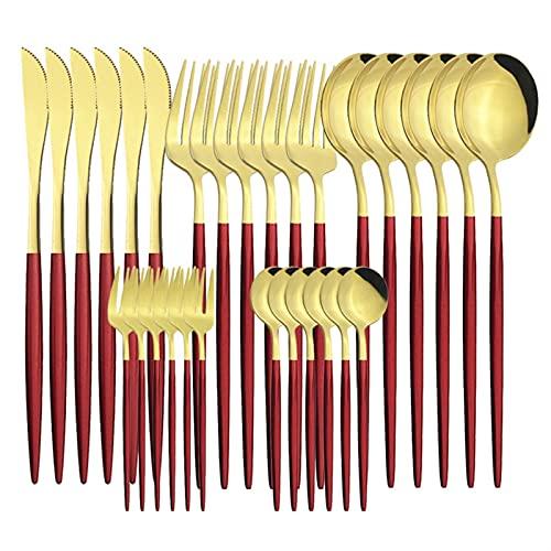 Black Gold Cutlery Set Cuchillos Postre Tenedor Té Cucharada Cuchara Cuadrados Vajeros Acero Inoxidable Cena Cubiertas Cocina Cocina Setware (Color : Red Gold)