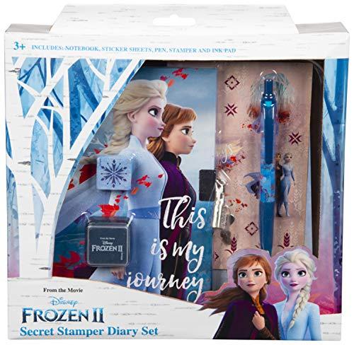 Disney Frozen 2 Diario Secreto para Niña Elsa Anna El Reino del Hielo, Diarios para Escribir, Libretas Bonitas Candado y Llaves, El Set Incluye Frozen Stickers bolígrafo Sello, Regalos para Niñas