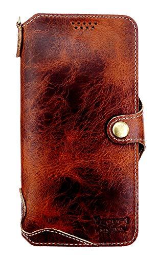 Yogurt for iPhone 11 Case 6.1‑inch Genuine Leather Wallet Cover Handmade Dark Brown