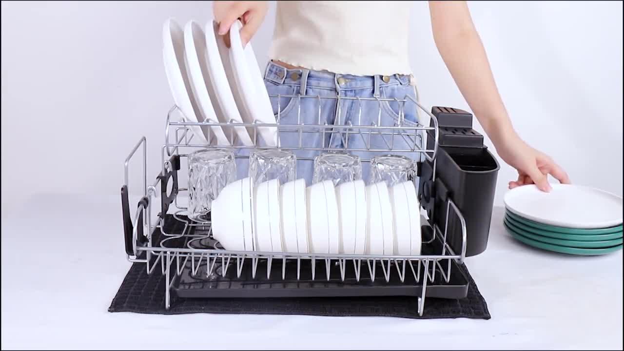 Escurridor de Platos Soportes para Platos Escurreplatos de Aluminio con Bandeja de Gota Extra/íble Escurreplatos de Cocina Cobre-1 Nivel