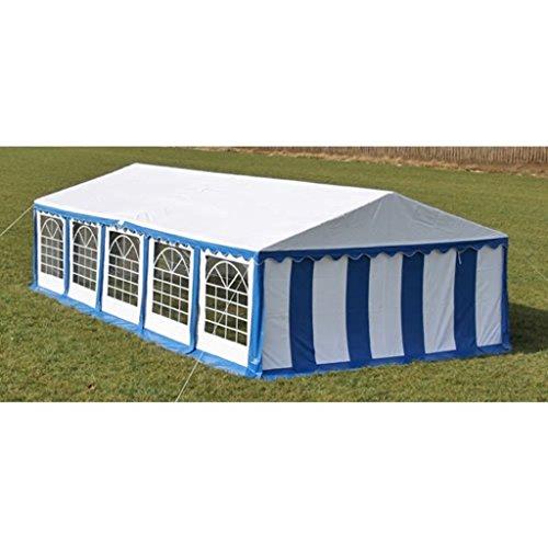 Tidyard Carpa de Jardín para Camping Eventos Fiestas Boda con Marco de Hierro 10x5x2,80m Azul y Blanco
