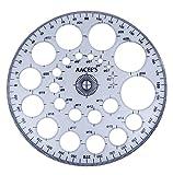 AACEE'S Transparente Kunststoff Pro-Circle Winkelmesser Vorlage Zeichnung Lineal