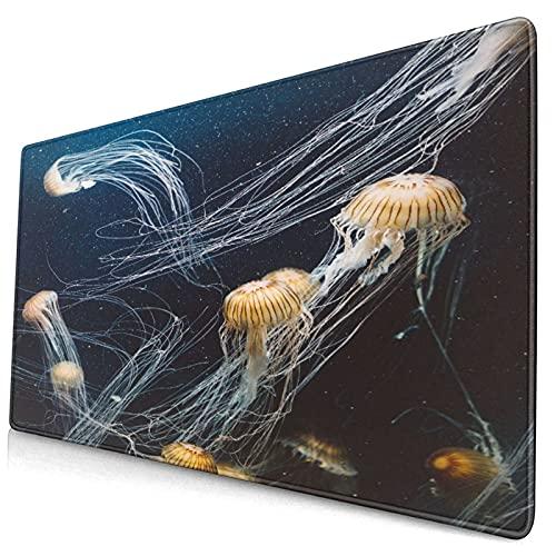 Nettes Mauspad ,Quallen im Tiefsee-Aquarium Leben von Meerestieren,Rechteckiges rutschfestes Gummi-Mauspad für den Desktop, Gamer-Schreibtischmatte, 15,8
