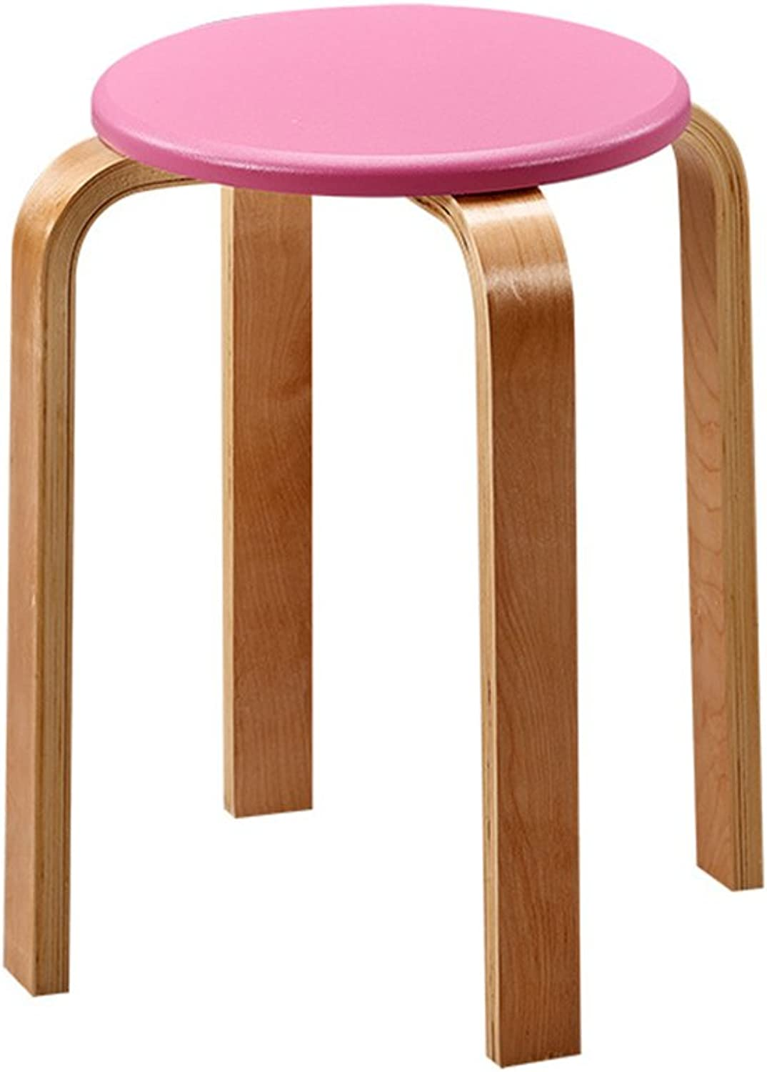 Wood Stool Round Bentwood Stools for Kitchen Office Parties Breakfast Wait 46 X 30 X2.5 cm (color   Pink)