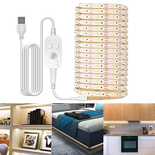 Taśma LED z czujnikiem ruchu, 1 m/2 m/3 m USB, listwa oświetleniowa do szafy LED, ciepła biel, 3500 K/biała 6500 K, do przyklejenia w dowolnym miejscu w sypialni, na schody, szafę