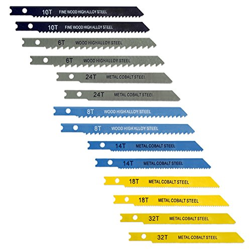 IIT 19220 14Pc Universal Jig Blade Assortment High-Alloy & Cobalt Steel - For Cutting Metal Wood PVC & More
