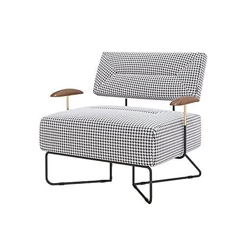 XIANGE100-SHOP Luz Luxury Lazy Sofa Single Houndstooth Walnut Solid Wood Sala de Estar Tela Recepción Silla Silla Silla (Color : Beige Italian Fluff, Size : Individual)