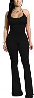 Women's Sexy Halter Bodycon Jumpsuits Sleeveless Solid Wide Leg Long Pants (for Tall Ladies)