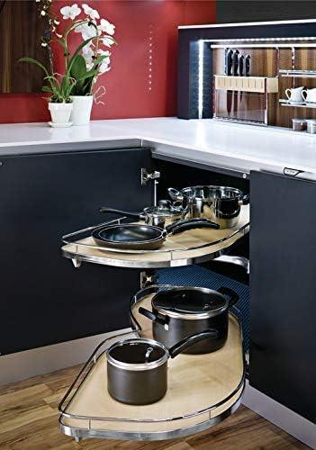 Amazon Com Lemans Ii Set For Blind Corner Cabinets 2 50 Er Shape Trays Chrome Maple Swings Left 884 Sq