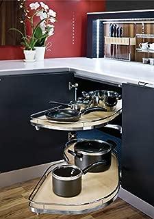 Hafele Lemans II Set, for Blind Corner Cabinets, 2-60'er Shape Trays, Chrome/Maple (Swings Left, 1057 sq.)
