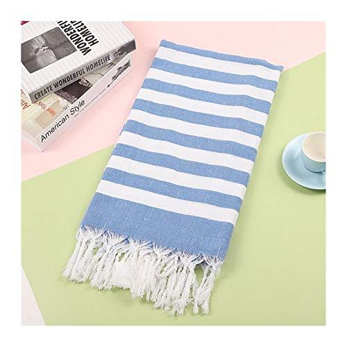 Toallas de algodón grande turco Pestemal toalla de baño con borlas, para viajes, camping, playa, gimnasio, piscina, manta quirúrgica, 100 x 180 cm, juego de toallas (color: azul, tamaño: 100 x 180 cm)