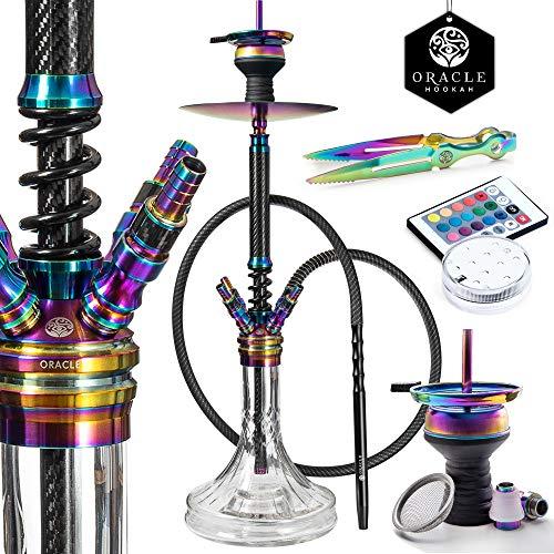 ORACLE HOOKAH® Carbon Shisha Set Edelstahl Wasserpfeife 70cm - mit Zubehör wie Schlauch Tonkopf Mundstück LED (carbon-rainbow, inkl. [1 Schlauch / 1 Mundstück])