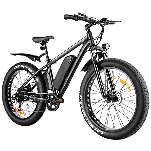 WIND SPEED 26 Pollici Bicicletta Elettrica, 500W Fat Tire Neve Bicicletta Donna E-Bike, 48v 12.5ah Rimovibile Batteria Bicicletta Uomo Città, 25mph 4.0 Larghezza Pneumatici E-Bike (500W)