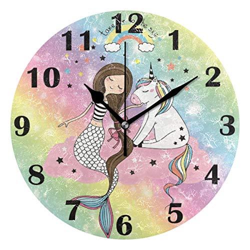 Jacque Dusk Reloj de Pared Moderno,Unicornio Sirena Arco Iris Estrellas,Grandes Decorativos Silencioso Reloj de Cuarzo de Redondo No-Ticking para Sala de Estar,25cm diámetro