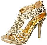 Fabulous Delicacy-07 Rhinestone Event Dress Open Toe Platform Sandals for Women Gold 8.5