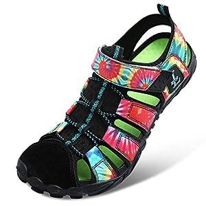 JIASUQI Womens Girls Quick Dry Beach Walking Sandals Boating Diving Athletic Hiking Water Shoes Black 7.5Women/6Men