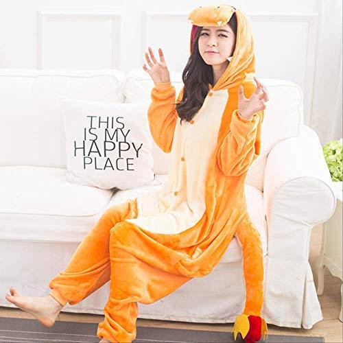 AYJMA Pijamas de Animales Onesie para Adultos Hombres Pijamas de Dibujos Animados para Mujeres Disfraz de Cosplay de Navidad Onesies Kigurumi Jumpsuit M Charmander Onesie