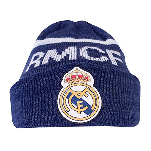 Real Madrid CF - Bonnet du Club -Adulte (Taille Unique) (Ble