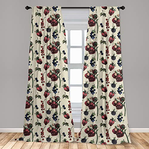 """Ambesonne Vintage Curtains, Drawing of Berry Fruits Tasty Vegetarian Food Organic Eating Garden Theme, Window Treatments 2 Panel Set for Living Room Bedroom Decor, 56"""" x 84"""", Beige Burgundy"""