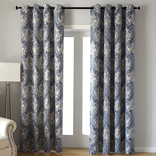 Kotile Home Decor Window Curtain for Paisley Floral Print Blackout Curtains, 2 Panels Floral Design Print Ring Top Thermal Insulated Blackout Curtains Perfect for Living Room, W52 x L84 Inches, Blue