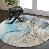Lahome Marble Pattern Area Rug - 3' Diameter Faux Wool Non-Slip Area Rug Accent Distressed Throw Rugs Floor Carpet for Living Room Bedrooms Laundry Room Decor (Round - 3' Diameter, Blue)