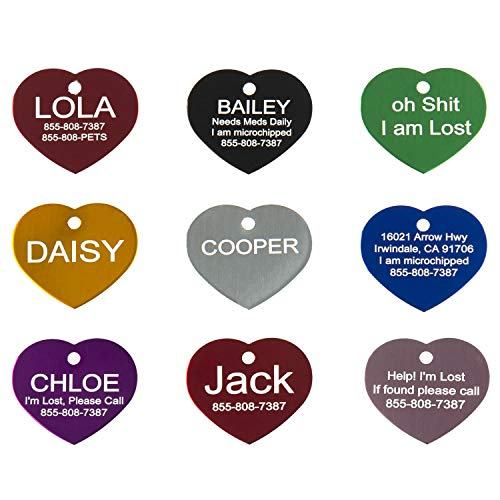Aluminum Pet ID Tags - Engraved Personalized Dog Tags, Cat Tags Front & Back up to 8 Lines of Text – Bone, Round, Heart, Flower, Paw, House, Star, Rectangle,Shirt, Cat, Mouse