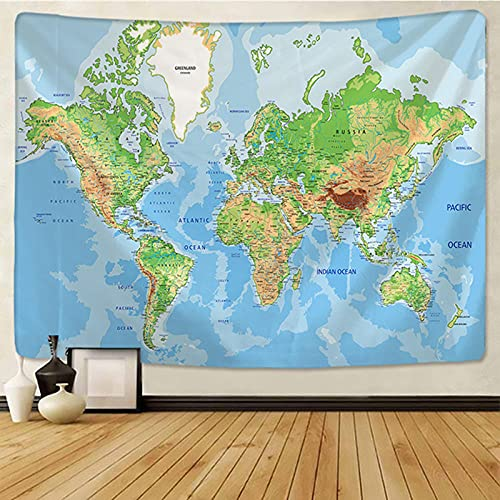 Mapa del Mundo Tapiz Colgante de Pared Pirata Imagen de bebé Tapiz de Letras Poliéster Cubierta de Mesa Fina Manta Paño de Pared Decoración del hogar Tela no Tejida 200 * 150Cm Tapiz Mu