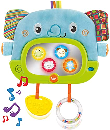 Musical Tummy Time Mirror with Stand and Attachment for Crib, Playgym or Stoller - Soft Elephant Baby Play Floor Mirror with Hidden Characters – Daytime Play and Nighttime Lullaby Modes – 0+ Months