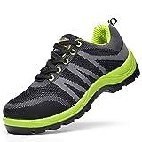 Zapatos de trabajo Zapatillas de seguridad antideslizantes antideslizantes antideslizantes para hombres, resistentes a los golpes, resistentes a los golpes. Zapatillas de seguridad (azul-verde, negro-