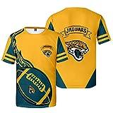 Xiaolimou Mens NFL 2021 Jacksonville Jaguars Tee Shirt Summer Fashion T Shirt Short Sleeves Tops Clothing, Ultra-Mince Et Respirant, Lavable en Machine, Ne Se Décolore Pas,Jaune,M