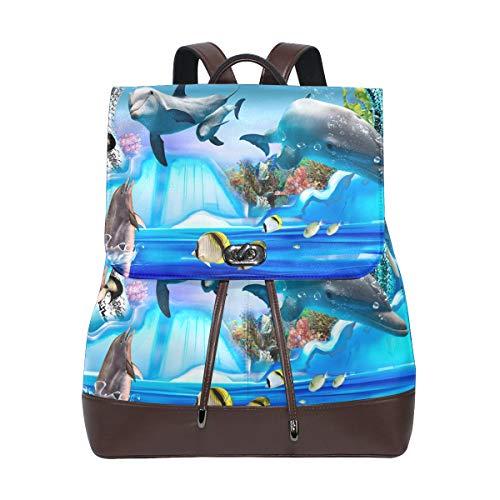 DEZIRO Leder Delfin Pinguin Jelly Aquarium Schulrucksack Reisetasche