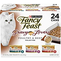 Twenty 4 (24) 3 Ounce Can Purina Fancy Feast Gravy Lovers Poultry & Beef Feast Collection Wet Cat Food Variety Pack Chicken, Turkey And Beef Flavors Cats Love 100 percent Complete And Balanced Nutrition Tender, Delicate Bites For A Tempting Texture E...