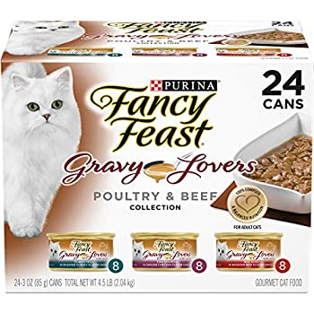 Purina Fancy Feast Gravy Wet Cat Food Variety Pack Gravy Lovers Poultry & Beef Feast Collection -  24  3 oz Cans