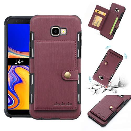 Dmtrab Phone Case para Samsung Galaxy J4 Plus Funda de Billetera, Textura cepillada a Prueba de Golpes PU + TPU Funda Protectora con Ranuras de Tarjetas y Marco de Fotos Tapa de Paquetes