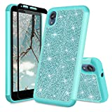 TJS Phone Case Compatible with Motorola Moto E6, with [Full Coverage Tempered Glass Screen Protector] Glitter Bling Cute Girls Women Design Dual Layer Heavy Duty Hybrid Protector Cover (Teal)