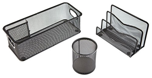 Idena 354019 Büro-Set (Utensilienbox, Köcher und Briefständer, 3-teilig) schwarz
