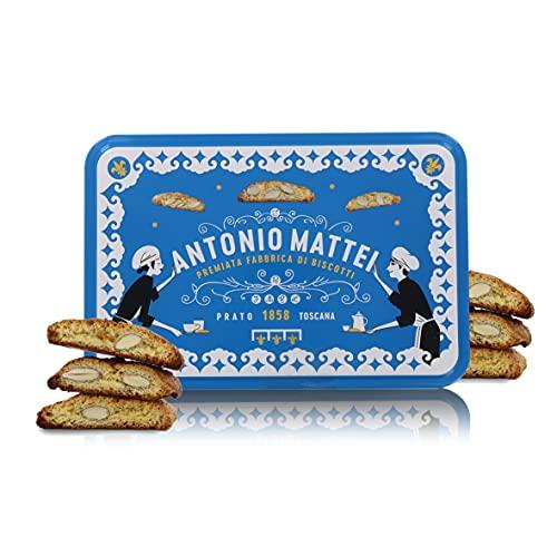 Cantucci alle Mandorle in Biscottiera di Latta Decorata, Biscotti di Prato Classici in Confezione Regalo da 300g