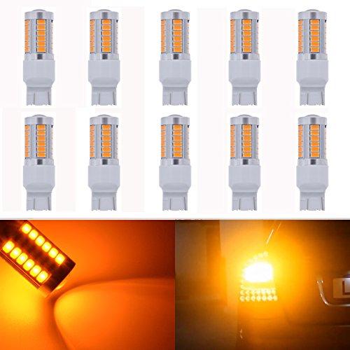 KaTur Lot de 10 ampoules LED de rechange pour voiture Ambre 950 lumens 7443 7444NA Base 33 SMD 5050