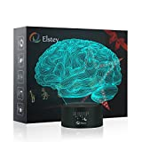 Elstey Brain 3D Night Light Table Desk Lamp, 7 Colors Optical Illusion Touch Control Lights with Acrylic Flat & ABS Base & USB Cable