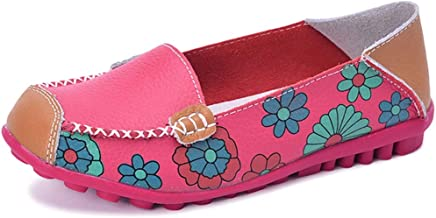 Fangsto Women's Leather Floral Loafers Flats Shoes Slip-Ons
