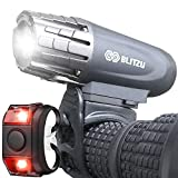 BLITZU Gator 320 USB Rechargeable Bike Light Set Super Bright Front Headlight and Back LED Rear...