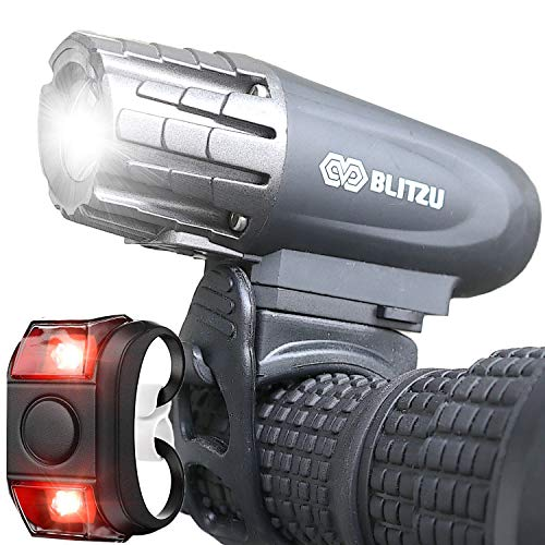 BLITZU Gator 320 USB Rechargeable Bike Light Set Super Bright Front Headlight...