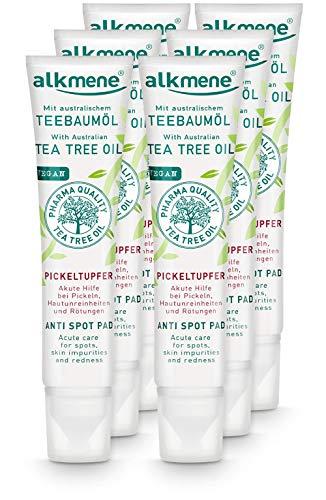 alkmene Teebaumöl SOS Anti Pickeltupfer - Akute Hilfe bei Pickel, Hautunreinheiten & Rötungen - vegane Gesichtspflege ohne Silikone, Parabene & Mineralöl im 6er Vorteilspack (6x 15 ml)