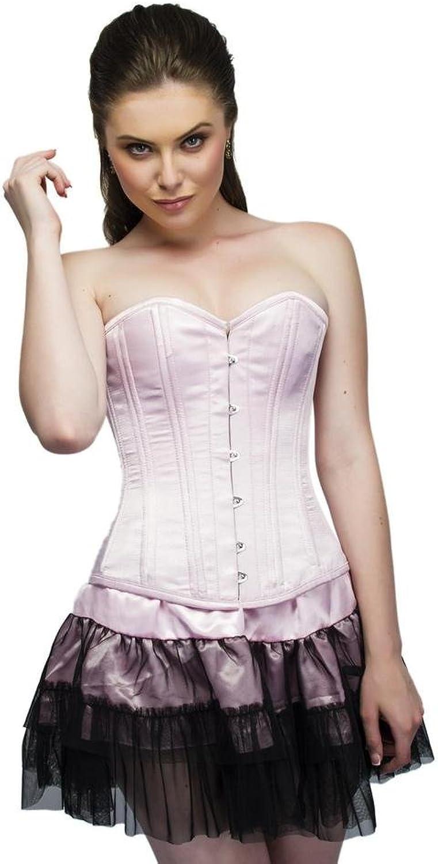 Baby Pink Satin Double Bone Burlesque Waist Training Bustier Overbust Corset Top