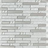 Hominter 11-Sheets Silver Glass and Metal Mosaic Tile Backsplash for Kitchen, Bathroom & Shower Linear Wall Tile, Mirrored Mini Stainless Steel Accent Tiles YG002