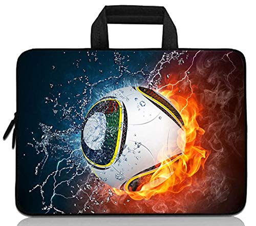 14 14.1' 14.2' 15' 15.4' 15.6' inch Inch Laptop Sleeve Protective Bag with Outside Handle,Ultrabook Notebook Carrying Case Handbag Compatible with Dell Toshiba HP Chromebook(Soccer Fire)