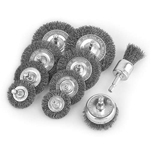 Gunpla 10pc 1/4 Inch Hex Shank Wire Wheel Brush Set Crimped Mini Cup Brush Set for Removal of Rust Corrosion Paint for Power Rotary Tools Polishing Cleaning Buffing Accessories